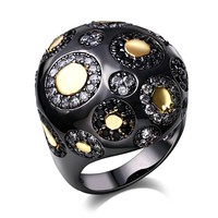Vintage Rings For Women Ball Shape Bohemia Style Unique Cocktail Party Rings Black Gold Color Copper