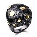 Anéis românticos para mulheres Big Forma de Bola Banhado A Ouro Negro com AAA Cubic Zircon Pedra Bohemia Estilo Agradável Jóias Livre expedição