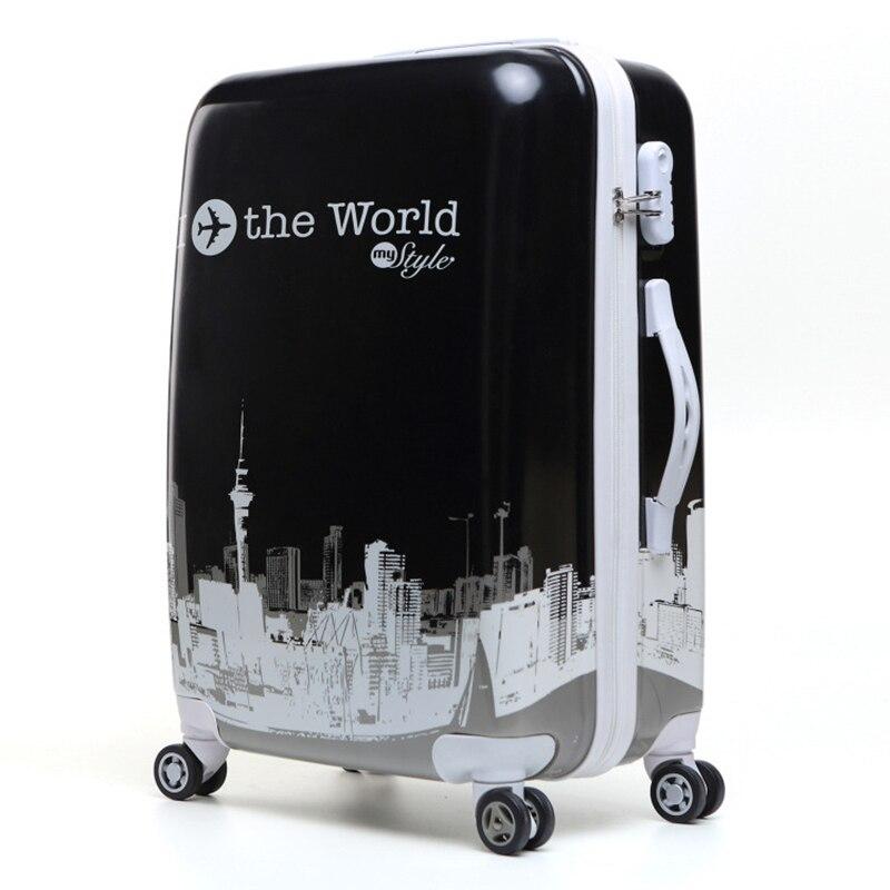 90FUN, 100% шт., чемодан, красочный багаж на колёсиках, легкий, для переноски, Спиннер, колесо, для путешествий, TSA lock, для женщин и мужчин, 20, 24, 28 дюй... - 3
