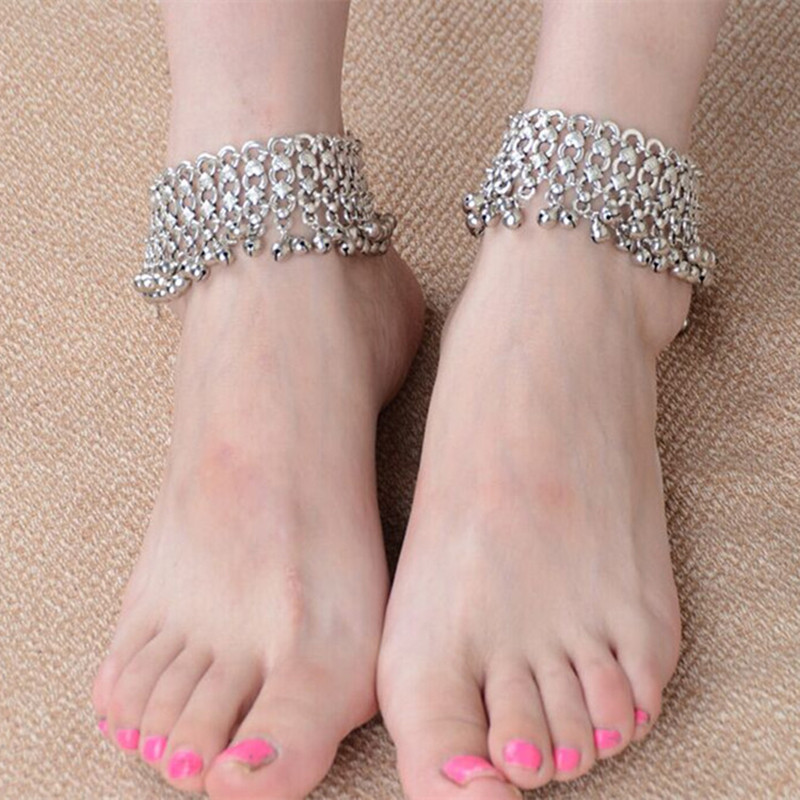 boho ankle vintage big beads for silver products ankles woman foot anklets anklet women blue jewelry color bracelet bohemian stone cheville antique