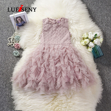 LUEISENY Party Kids Dresses For Girls Fluffy Cake Smash Princess Dress Lace Tutu Baby Kid Clothes