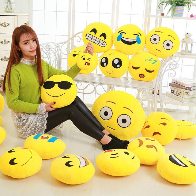 Emoji Stuffed Plush Round Cushion