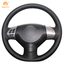 MEWANT Black Genuine Leather Car Steering Wheel Cover for Mitsubishi Lancer EX Outlander ASX Colt Pajero Sport