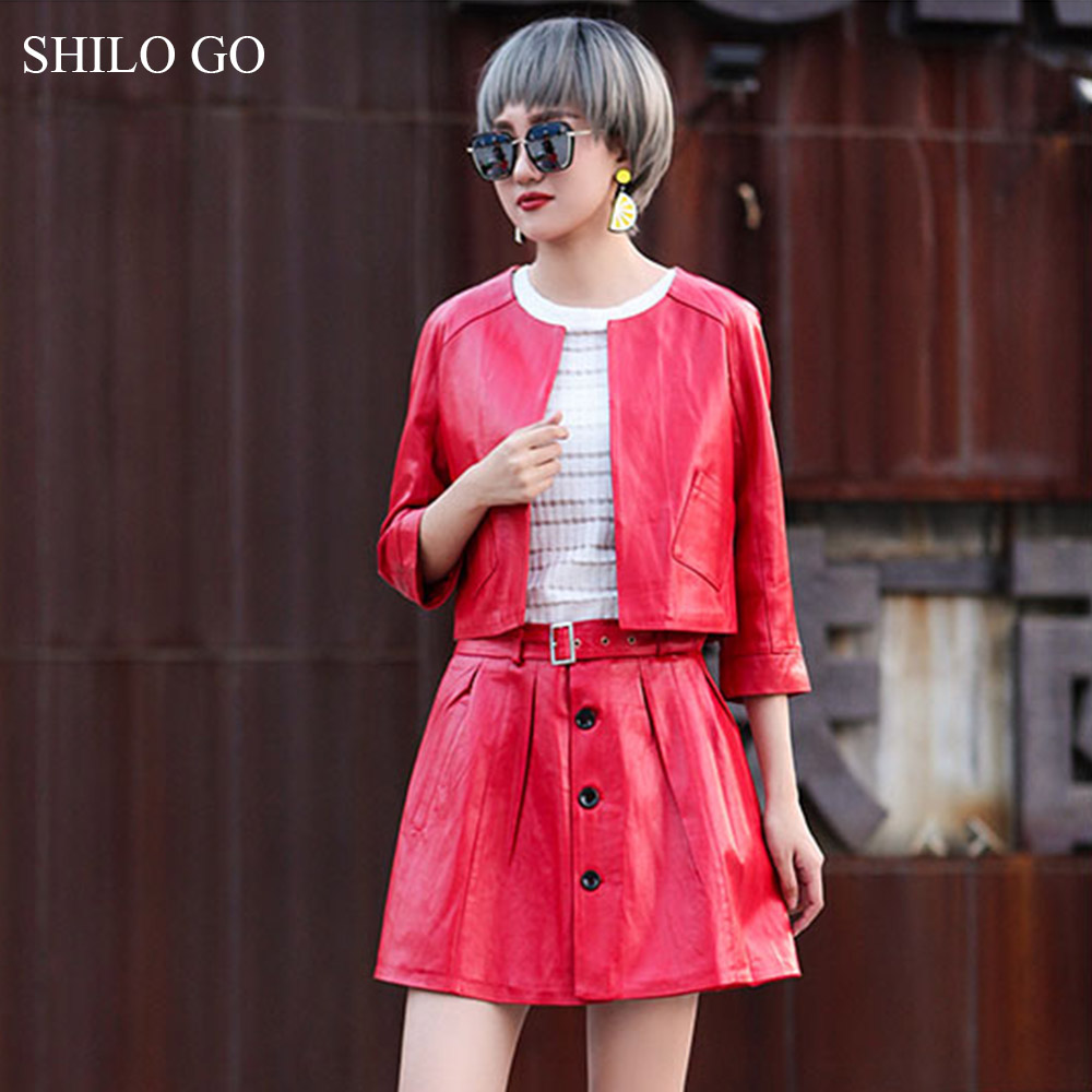 SHILO GO Leather Suit Womens Spring Fashion Sheepskin Genuine Leather Sets O Neck Long Sleeve Colors Concise Jacket A Line Skirt