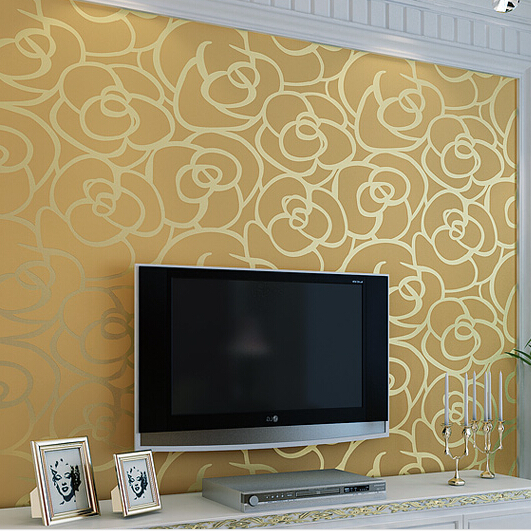 3d Papel de parede Background wall non-woven Flock wallpaper roses for living room classic wall paper home decor wallcoverings beibehang non woven wallpaper roll flower roses papel de parede 3d wall paper background wallpaper for living room parede floral
