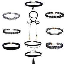 ZIRIS 10-4 PCS/Set New Gothic Tattoo Leather Choker Set for fashion Women Hollow Out Black Lace Necklace Jewelry Collier Chain