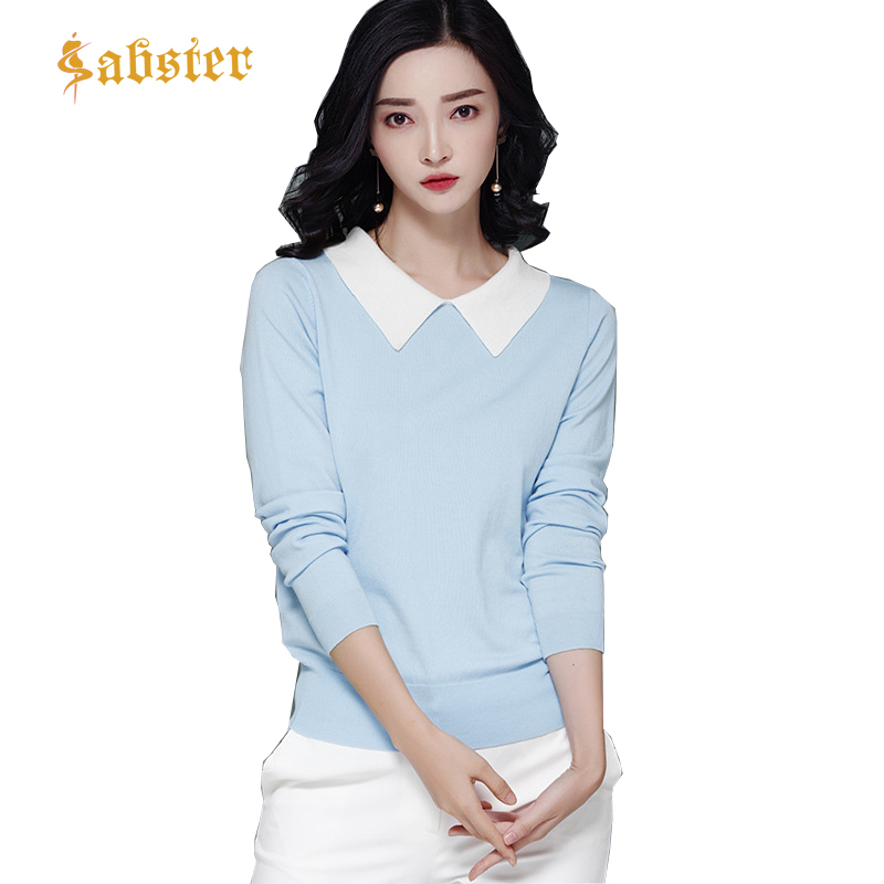 Autumn Casual Women Sweater 2018 Solid Color Turn Down Collar Knit Female Pullovers Sweaters High Quanlity Long Sleeve Sweater