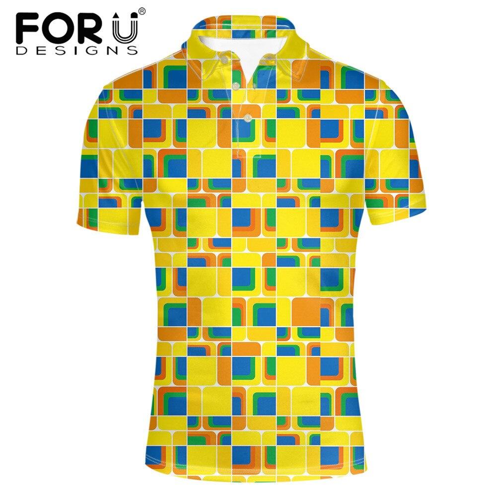Forudesigns Yellow Summer Fitness Men Polo Shirt Short Sleeve