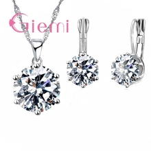 Giemi New Fashion Luxury CZ Set di gioielli in argento sterling 925 orecchino + collana di ciondoli Set di donne anniversario di fidanzamento regalo impostato