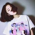 Camiseta Femme 2017 Novo Verão Nova Camiseta Coréia Ulzzang Harajuku Mulheres Impressos O pescoço T-shirt Casual Solto Manga Curta topos