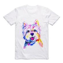 Acuarela Animal T-shirt Top Cute Dog Modal Mens White Casual Short-sleeved Printed Pattern