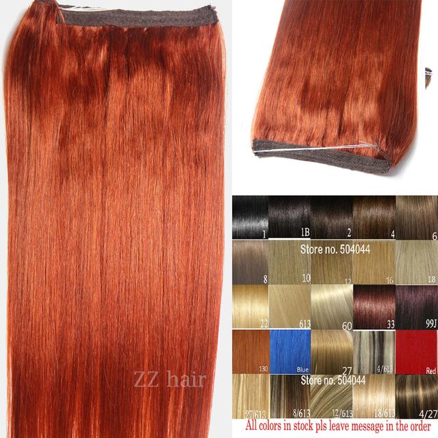"""16 """"-32"""" 100% pelo brasileño de remy flip en/sobre halo de cabello extensiones de cabello humano #350 orange red 80g-220g 1 unids conjunto"""