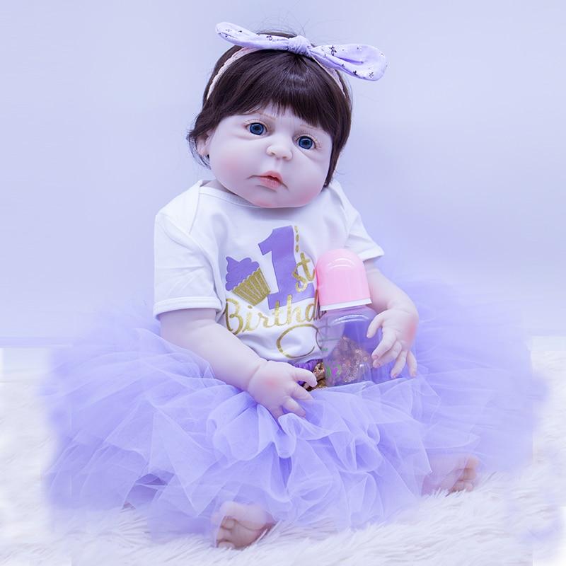 55cm Silicone Reborn Baby Doll Toys Alive Baby Dolls Play House Girls Fashion Birthday Brinquedos Lifelike Interactive DOLL NPK55cm Silicone Reborn Baby Doll Toys Alive Baby Dolls Play House Girls Fashion Birthday Brinquedos Lifelike Interactive DOLL NPK