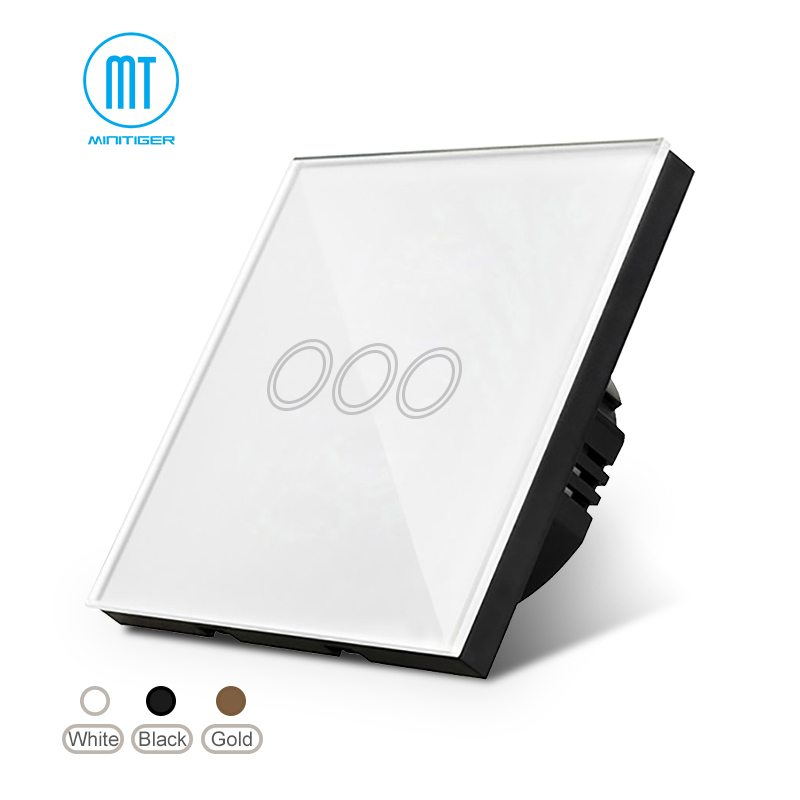 EU/UK Standard Remote Switch 1Gang /2Gang/ 3 Gang 1 Way,White Crystal Glass Panel Touch Switch, Wall Light Switch For Smart Home