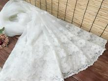 White unilateral positioning flower embroidery lace fabric DIY clothing curtain accessories 140cm wide