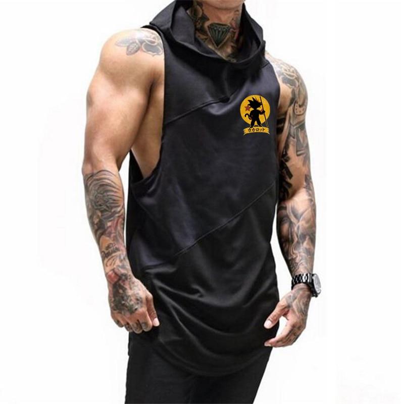 Brand Clothing Bodybuilding Cartoon Fitness Mens Gym Hooded Tank Top Vest Stringer Sportswear Cotton Sleeveless Shirt Hoodie