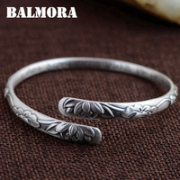 BALMORA 999 Pure Silver Four Leaf Clover Lotus Flower Open Bangles for Women Mother about 17cm Bracelet Jewelry Pulsera SZ0279