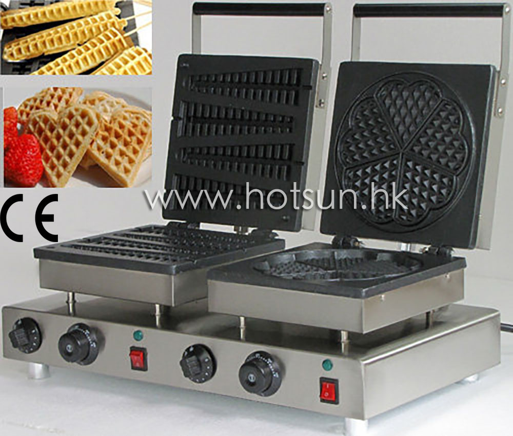 Commercial Use Non-stick 110v 220v Electric Dual Belgian Liege Waffle  and Lolly Waffle Baker Iron Machine Maker free shipping commercial use non stick 110v 220v electric 8pcs square belgian belgium waffle maker iron machine baker