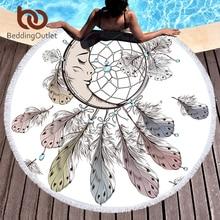 Moon and Dreamcatcher Tassel Mandala Tapestry Bohemian Round Beach Towel Toalla Sunblock Blanket 150cm Yoga Mat