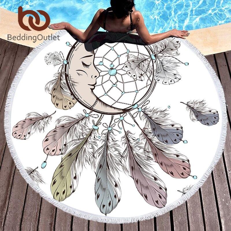 BeddingOutlet Moon and Dreamcatcher Tassel Mandala Tapestry Bohemian Round Beach Towel Toalla Sunblock Blanket 150cm Yoga Mat