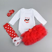 4 Pcs Papai Noel Imprimir Bodysuits Infantil Presente de Natal Do Bebê Romper + Camada Saia + Headband + Meias Recém-nascidos Orgânicos Roupas de algodão Set