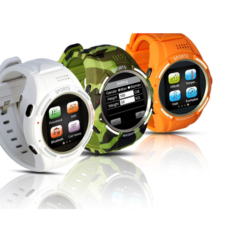 Waterproof IP54 smart watch Sports Smart Watch Phone with 2MP Camera sim card comprass FM Radio