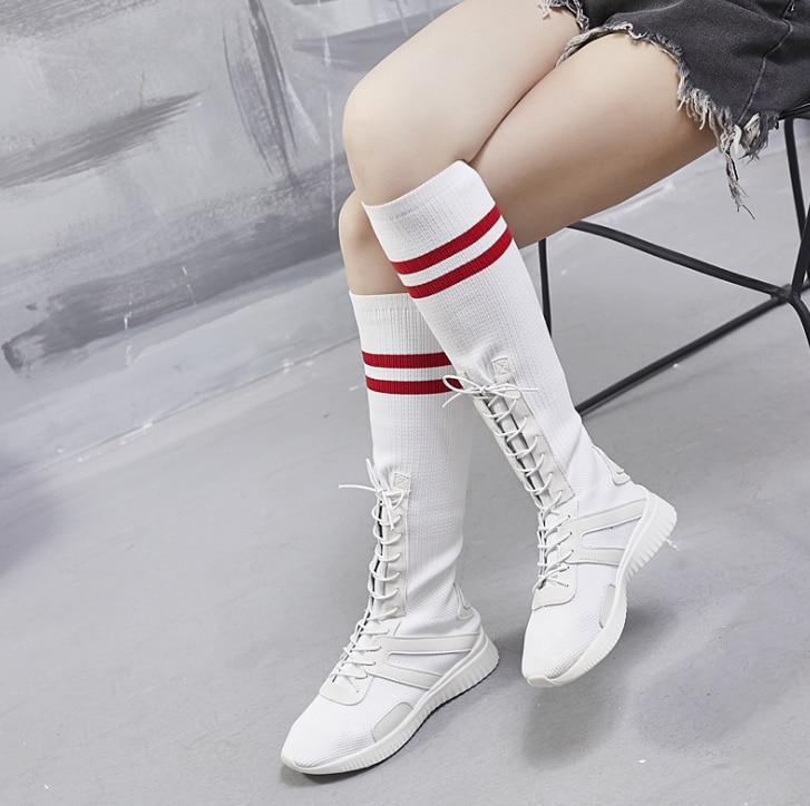2018 İlkbahar/yaz ins süper yangın çorap çizmeler elastik kadın botları kadın Yüksek Üst diz üzerinde çizmeler düz kadın ayakkabı ZLL604