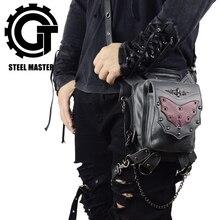 цена на SteamPunk Fanny Pack Hip Lap Waist Packs Red Bat Rivets Crossbody Bag Vintage Leather Leg Bag Multifunctional Thigh Bag