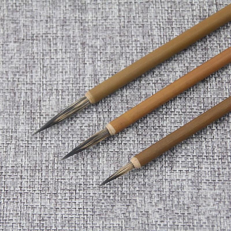 3pcs Hook Line Fine Paint Brush Chinese Calligraphy Brush Pen Bamboo Shaft Paint Brush Art Stationary Oil Painting Brush