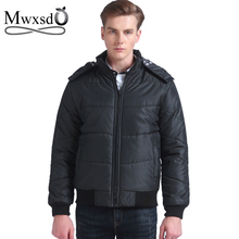Mwxsd new Brand winter warm Jacket for men hooded coats casual mens thick coat male slim casual cotton padded outerwear
