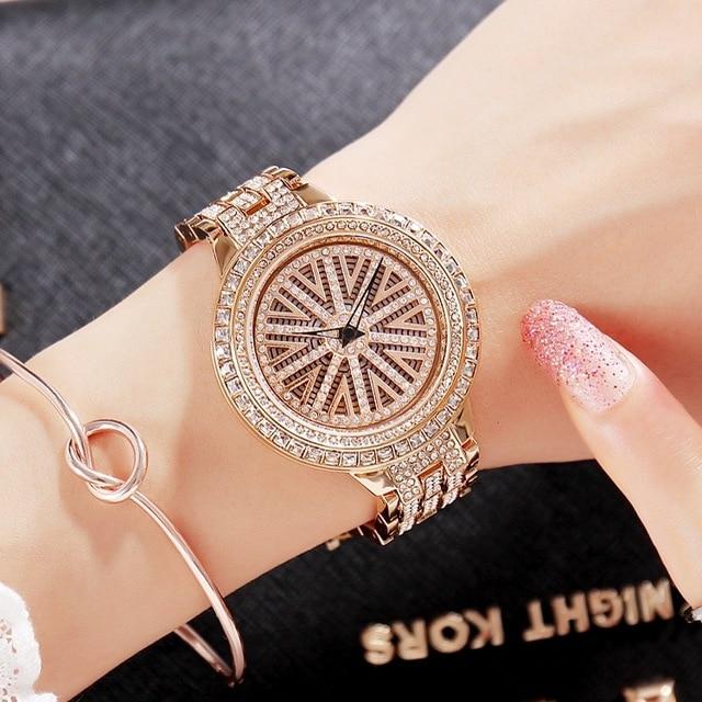New  Women Stainless Steel Watch Lady Shining Rotation Dress Watch Big Diamond Stone Wristwatches Purple Watch Clocks Hours