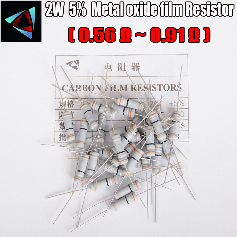 20pcs 5% 2W Carbon Film Resistor  0.56 0.62 0.68 0.75 0.82 0.91 Ohm  Metal Oxide Film Resistors
