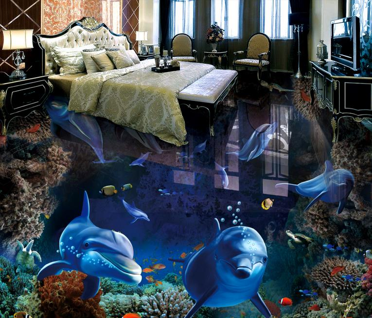 custom 3d floor Dolphin underwater world self adhesive wallpaper 3d floor tiles waterproof wallpaper 3d floor photo wall mural p vip 240 0 8 e20 9n 725 10325 331 6242 469 2140 fkrpw original projector bare lamp for dell 1420x