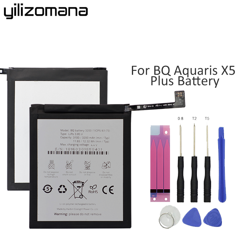 Yilizomana Original Phone Battery 3200 for BQ Aquaris X5 Plus High Quality Replacement Batteries High Capacity 3200mAhYilizomana Original Phone Battery 3200 for BQ Aquaris X5 Plus High Quality Replacement Batteries High Capacity 3200mAh