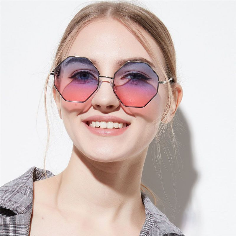 Fashion Lady Polygon Sunglasses Brand Designer Hexagon Sunglasses Women  Sunglasses Blue Pink Clear Lens Sun Glasses Female