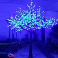 Pas cher 4.5 Mètre 5040 led en plastique matériau métallique rose violet bleu artificielle de noël led cherry blossom arbre avec des lumières extérieures