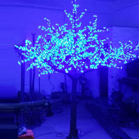 cheap 4.5Meter 5040leds plastic metal material pink purple blue artificial christmas led cherry blossom tree with outdoor lights
