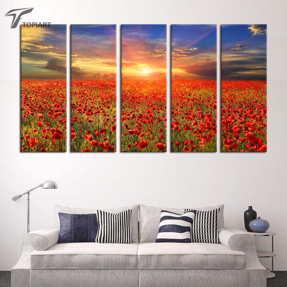online get cheap poppy painting aliexpresscom  alibaba group -  piece wall art canvas poppy red poppies wall painting flower landscapesunrise skyline modern decor art living room no frame