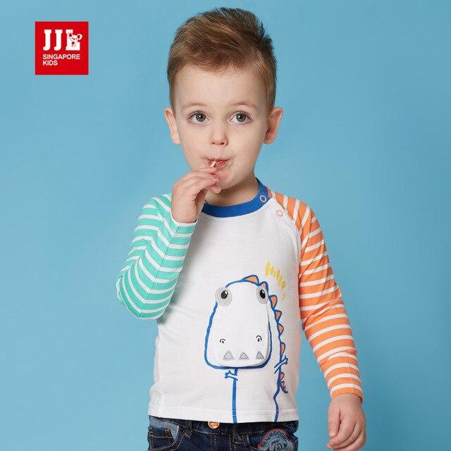baby cartoon t shirt baby boy t-shirts striped sleeve dinosaur print kids tees 2016 spring new arrival