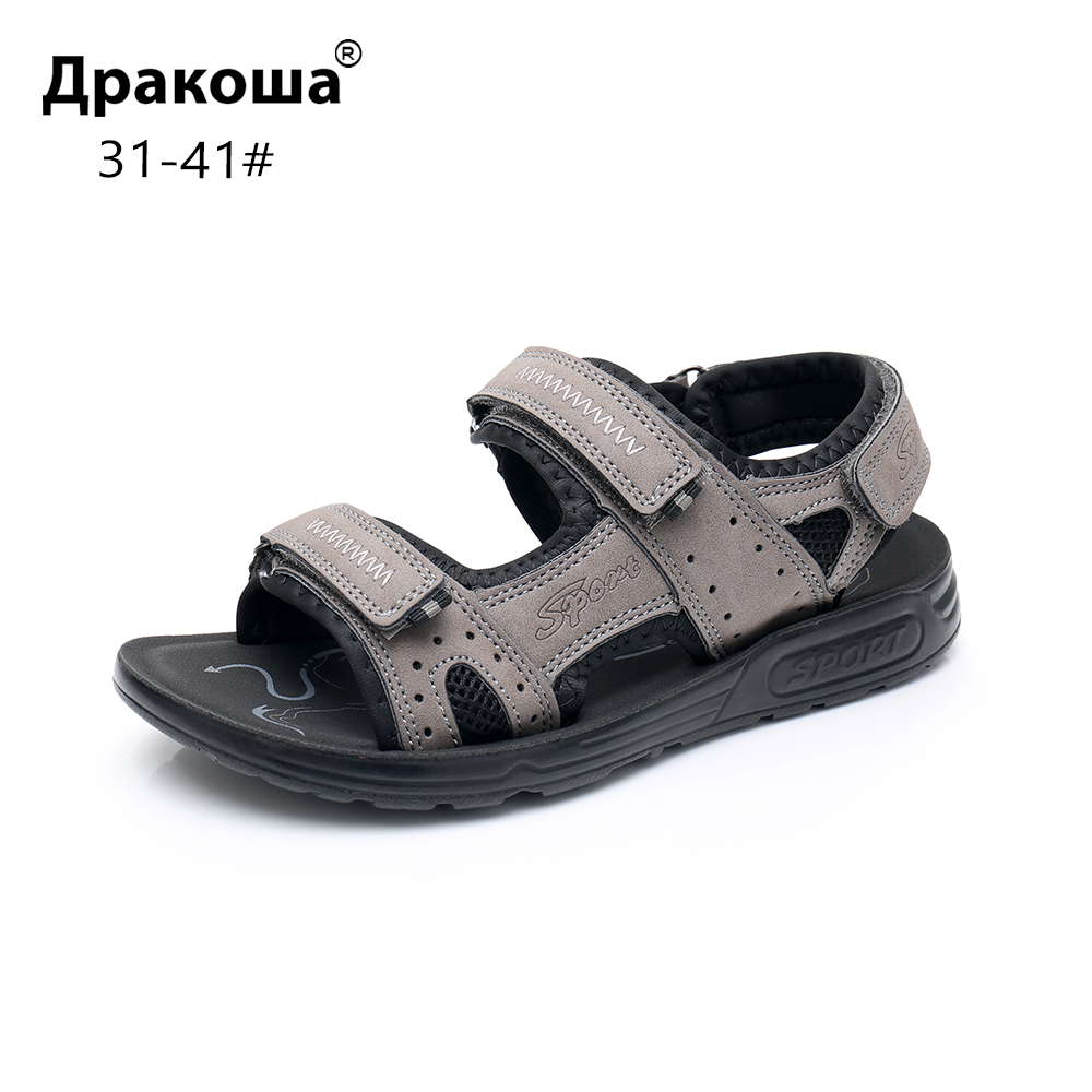 Apakowa Big Boys Summer Peep-toe Ankle Strap Sandals Older Kids Beach Walking Travelling Sports Trainer Sandals Outdoor Footwear