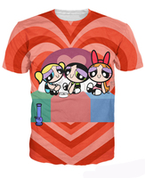 Powerpuff Puff Pass Girls T Shirt Blossom Bubbles Buttercup Sugar Spice Drug 3d Print T Shirt