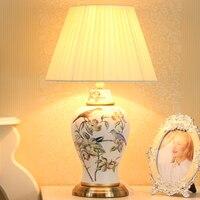Европейские антикварные ручная роспись птицы китайский Керамика светодио дный E27 Dimmiable Настольная лампа для Спальня Гостиная исследования