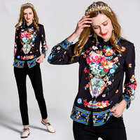 Women S Turn Down Collar Long Sleeve Sexy Black Floral Printed Blouse Fashion Tops High Quality
