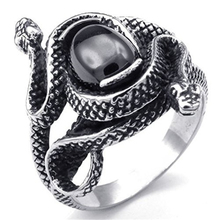 EVBEA Steampunk Rock Roll Punk Chinese Style Mens Rings Snake Sermon Ring for Men  Amulet Gem Gothic Jewelry Accessories