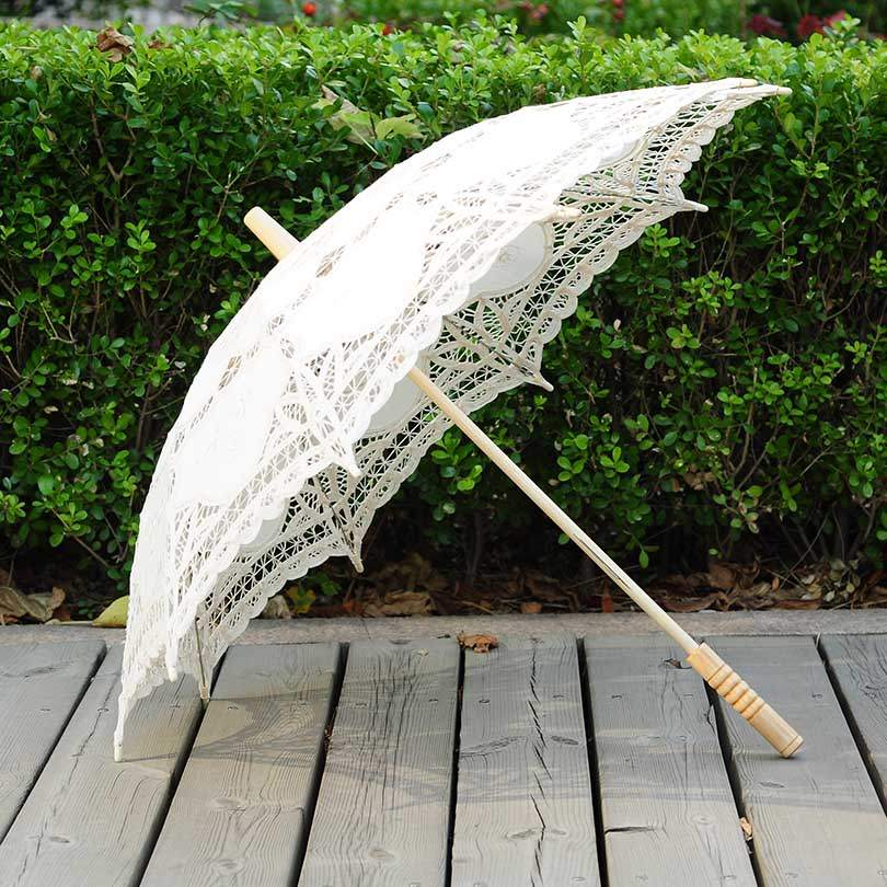 QUNYINGXIU Craft Lace White Umbrella Cotton Decoration Wedding Photography Prop European dance Performance Ricamo Ombrello