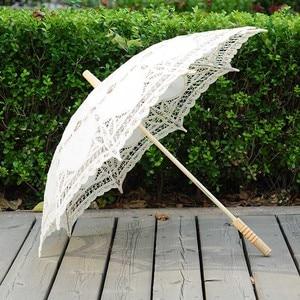 Image 1 - QUNYINGXIU מלאכת תחרה לבן מטריית כותנה קישוט חתונה צילום נכס אירופאי ריקוד ביצועים רקמת מטרייה