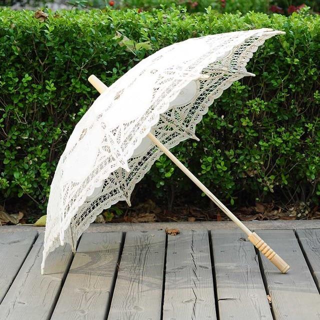 QUNYINGXIU מלאכת תחרה לבן מטריית כותנה קישוט חתונה צילום נכס אירופאי ריקוד ביצועים רקמת מטרייה