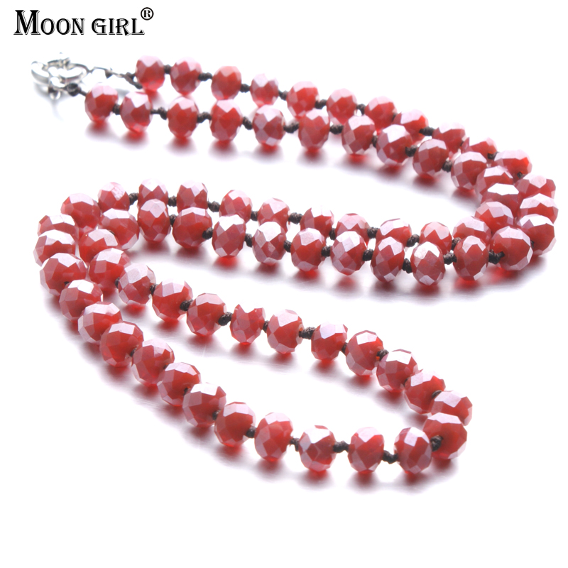 MOON GIRL Ethnic Design Red Crystal Beads Rope Braid Strand Long Necklace For Women Fashion Statement Jewelry Accessories