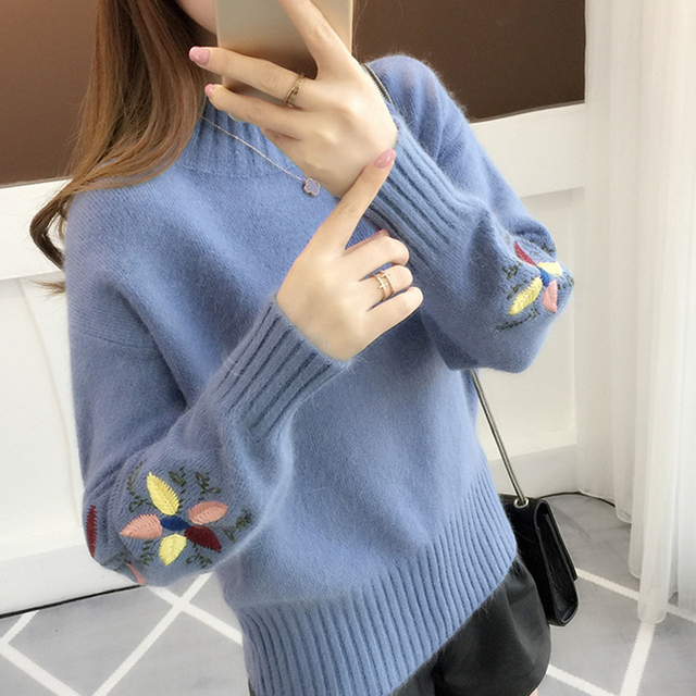 e2222eb5cd8 Autumn sweater pullover knit flower embroidery Winter turtleneck sweater  women pullover Warm sweater female tops sweater