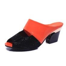 Women Sexy High Heel Mules Clogs Black Peep Toe Platform Ladies Leather Sole Slippers Femal Slip On slipper Shoes